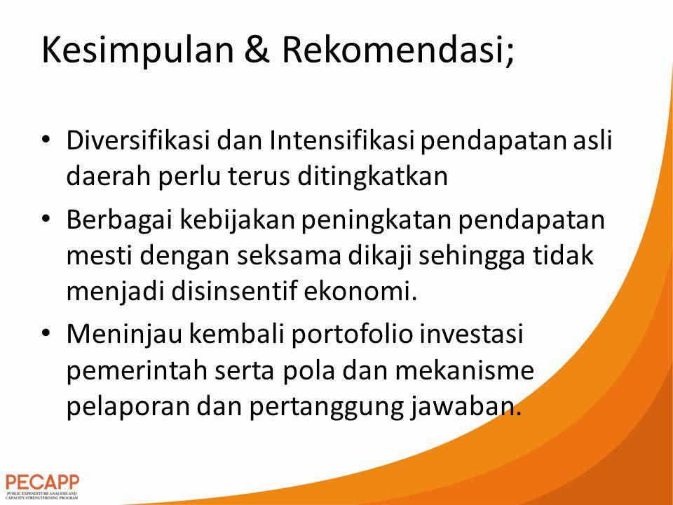 Kesimpulan & Rekomendasi; Diversifikasi dan Intensifikasi pendapatan asli daerah perlu terus ditingkatkan Berbagai kebijakan peningkatan pendapatan me