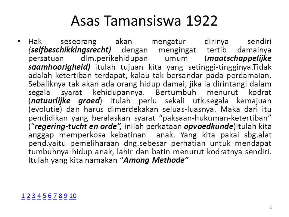 Asas Tamansiswa 1922 Hak seseorang akan mengatur dirinya sendiri (selfbeschikkingsrecht) dengan mengingat tertib damainya persatuan dlm.perikehidupan