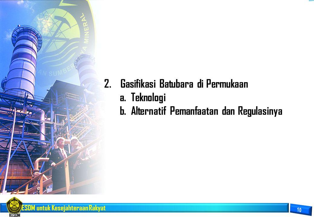 ESDM untuk Kesejahteraan Rakyat 2.Gasifikasi Batubara di Permukaan a.Teknologi b.Alternatif Pemanfaatan dan Regulasinya