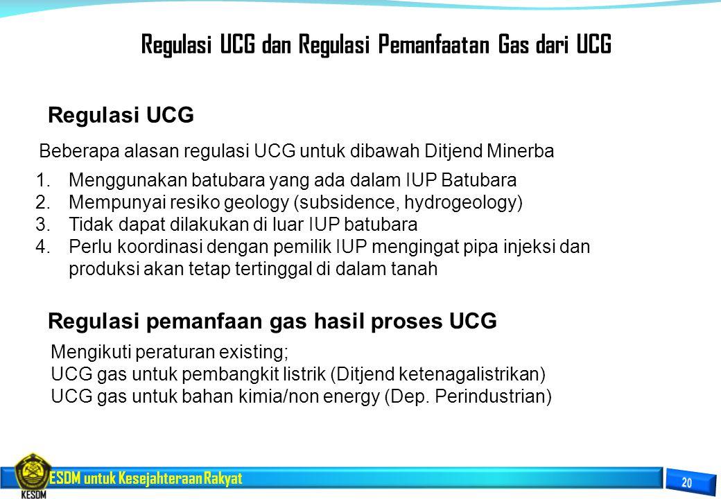 ESDM untuk Kesejahteraan Rakyat Regulasi UCG Beberapa alasan regulasi UCG untuk dibawah Ditjend Minerba 1.Menggunakan batubara yang ada dalam IUP Batu
