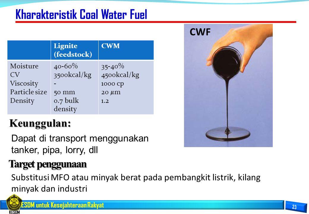 ESDM untuk Kesejahteraan Rakyat Target penggunaan Substitusi MFO atau minyak berat pada pembangkit listrik, kilang minyak dan industri Kharakteristik