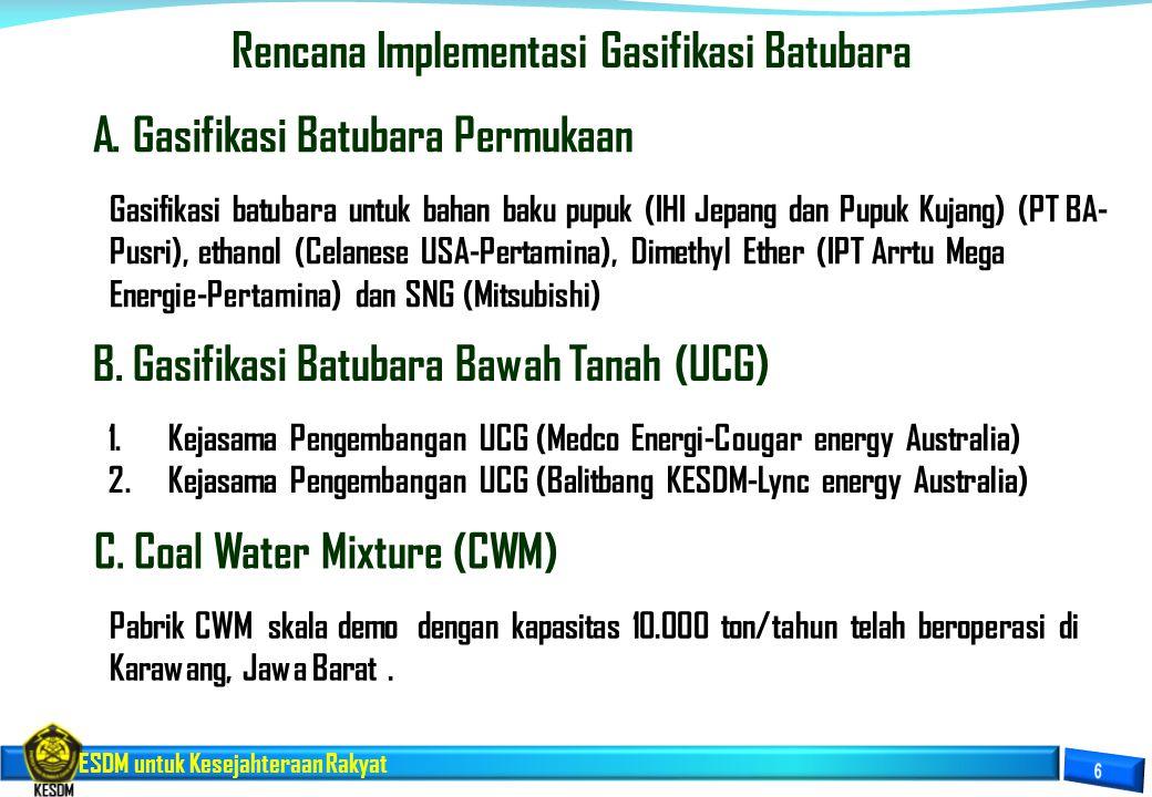 ESDM untuk Kesejahteraan Rakyat Rencana Implementasi Gasifikasi Batubara Gasifikasi batubara untuk bahan baku pupuk (IHI Jepang dan Pupuk Kujang) (PT
