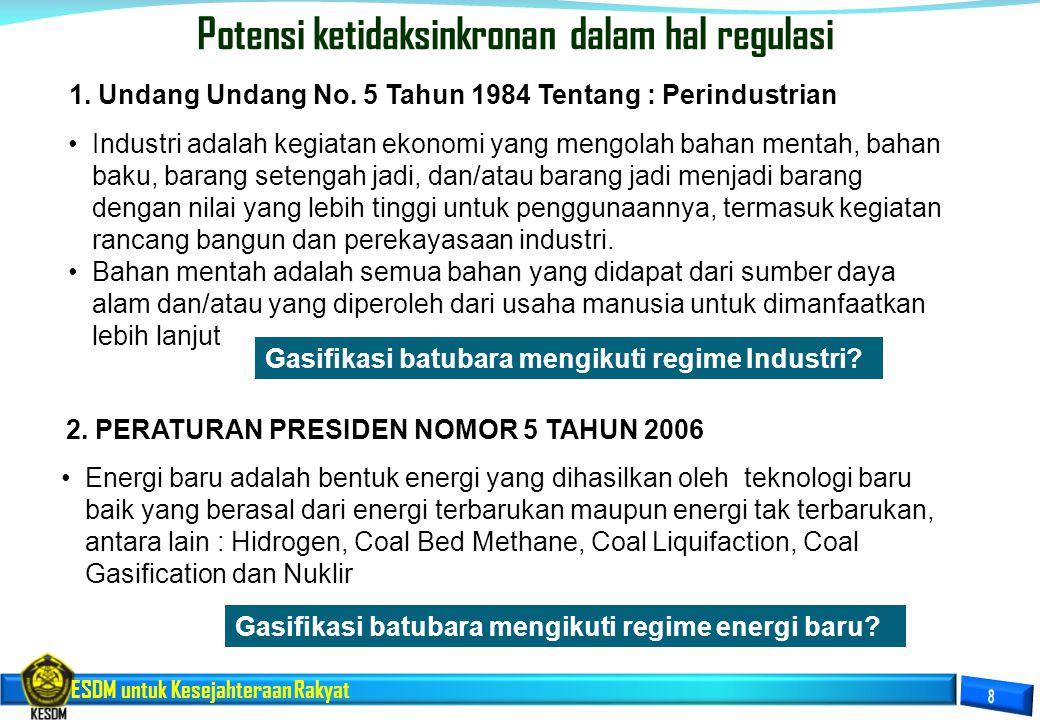 ESDM untuk Kesejahteraan Rakyat Potensi ketidaksinkronan dalam hal regulasi Industri adalah kegiatan ekonomi yang mengolah bahan mentah, bahan baku, b