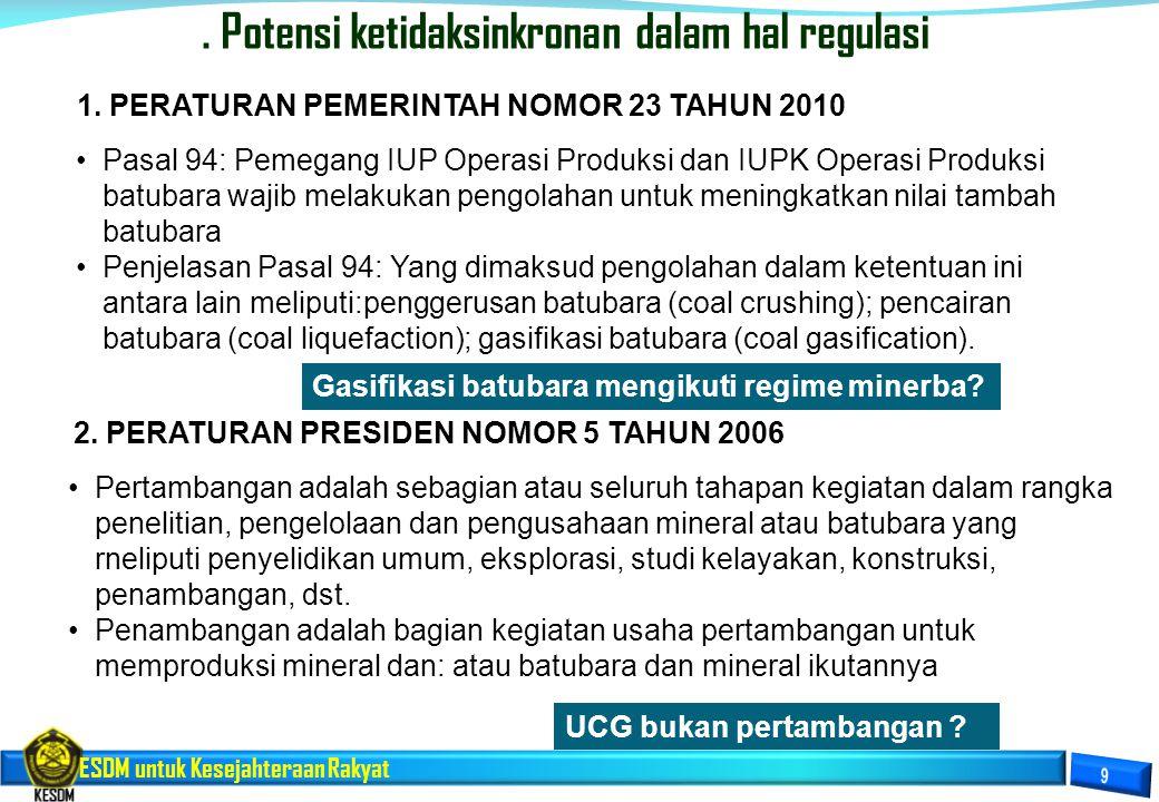 ESDM untuk Kesejahteraan Rakyat. Potensi ketidaksinkronan dalam hal regulasi Pasal 94: Pemegang IUP Operasi Produksi dan IUPK Operasi Produksi batubar