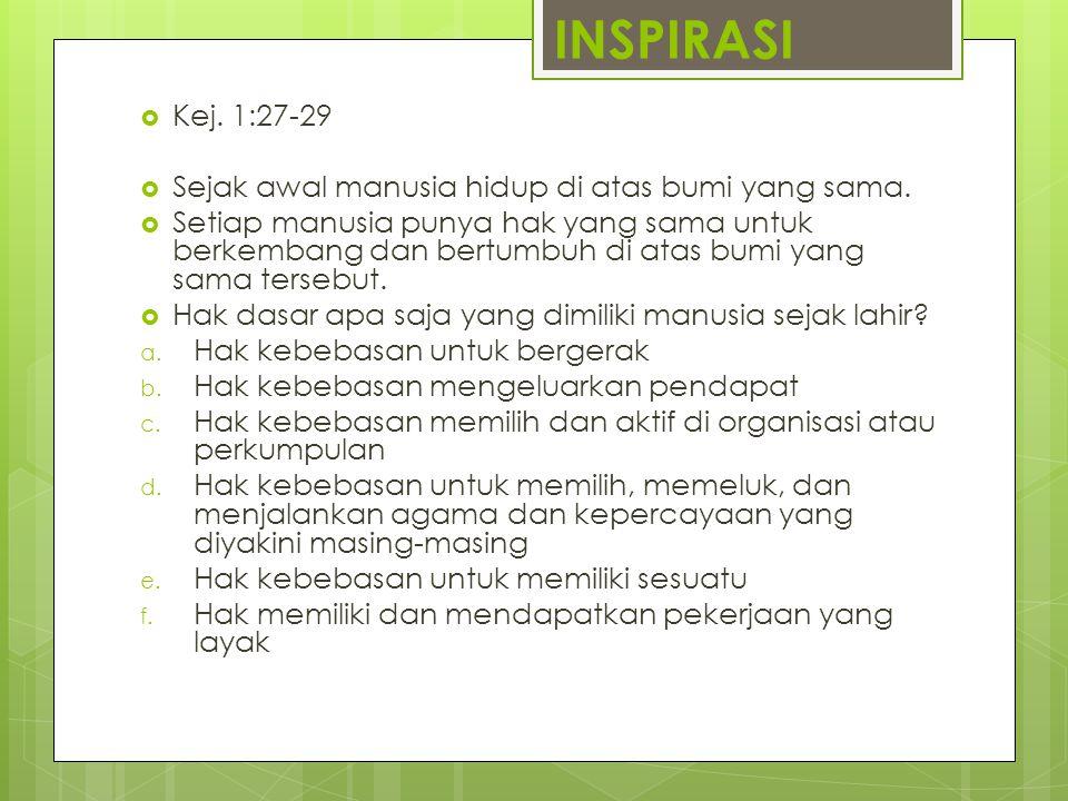 INSPIRASI  Kej. 1:27-29  Sejak awal manusia hidup di atas bumi yang sama.