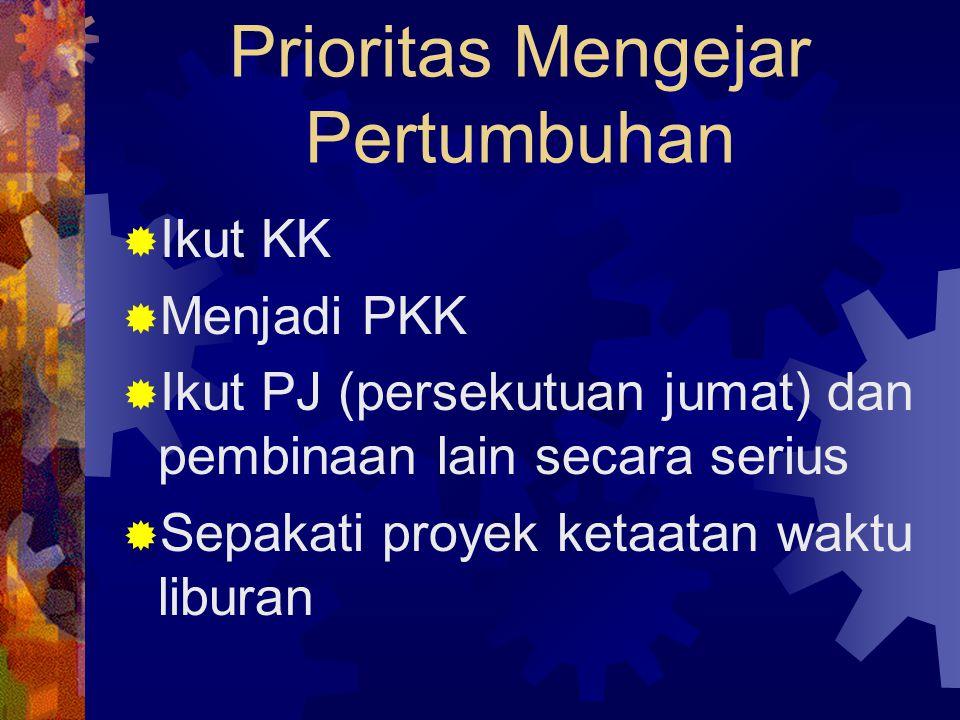 Prioritas Mengejar Pertumbuhan  Ikut KK  Menjadi PKK  Ikut PJ (persekutuan jumat) dan pembinaan lain secara serius  Sepakati proyek ketaatan waktu liburan