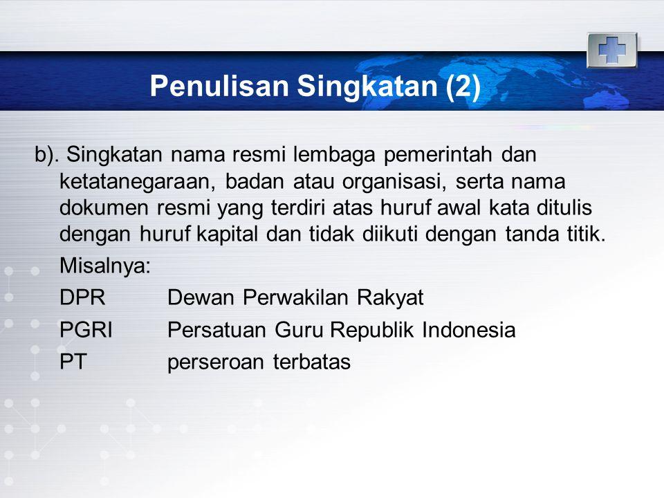 Penulisan Singkatan (3) c).