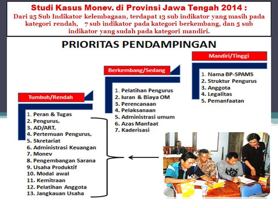 Studi Kasus Monev. di Provinsi Jawa Tengah 2014 : Dari 25 Sub Indikator kelembagaan, terdapat 13 sub indikator yang masih pada kategori rendah, 7 sub