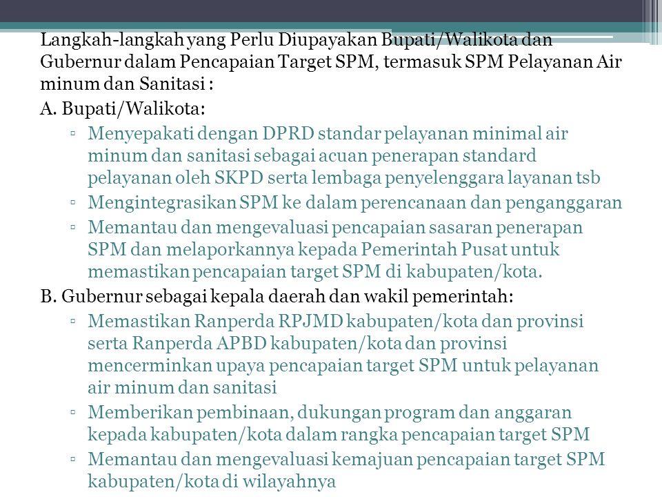 Langkah-langkah yang Perlu Diupayakan Bupati/Walikota dan Gubernur dalam Pencapaian Target SPM, termasuk SPM Pelayanan Air minum dan Sanitasi : A. Bup