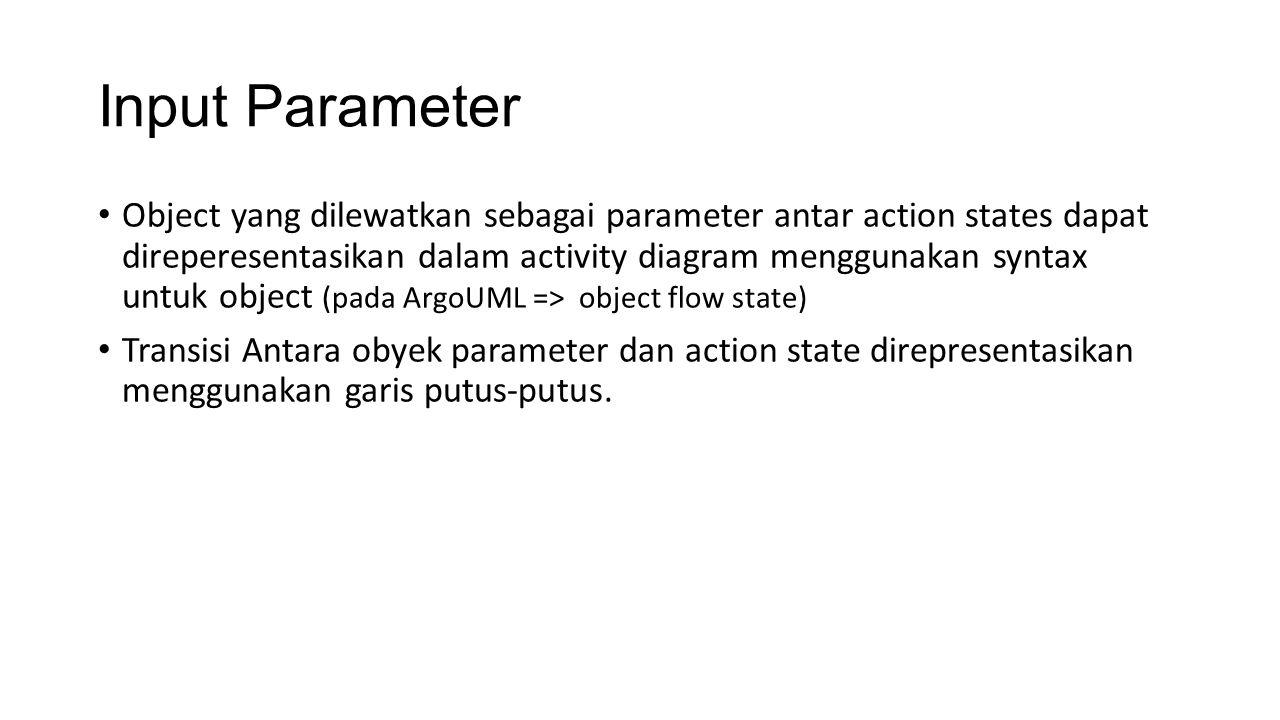 Input Parameter Object yang dilewatkan sebagai parameter antar action states dapat direperesentasikan dalam activity diagram menggunakan syntax untuk object (pada ArgoUML => object flow state) Transisi Antara obyek parameter dan action state direpresentasikan menggunakan garis putus-putus.