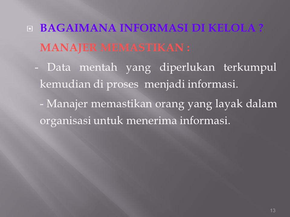  BAGAIMANA INFORMASI DI KELOLA ? MANAJER MEMASTIKAN : - Data mentah yang diperlukan terkumpul kemudian di proses menjadi informasi. - Manajer memasti