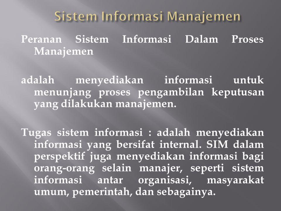 Peranan Sistem Informasi Dalam Proses Manajemen adalah menyediakan informasi untuk menunjang proses pengambilan keputusan yang dilakukan manajemen. Tu