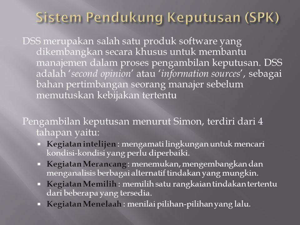 DSS merupakan salah satu produk software yang dikembangkan secara khusus untuk membantu manajemen dalam proses pengambilan keputusan. DSS adalah ' sec