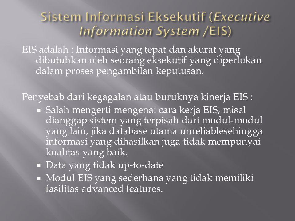EIS adalah : Informasi yang tepat dan akurat yang dibutuhkan oleh seorang eksekutif yang diperlukan dalam proses pengambilan keputusan. Penyebab dari