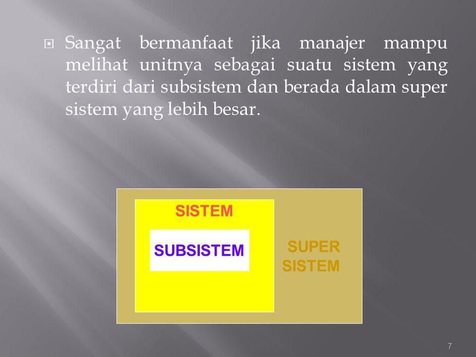  Sangat bermanfaat jika manajer mampu melihat unitnya sebagai suatu sistem yang terdiri dari subsistem dan berada dalam super sistem yang lebih besar