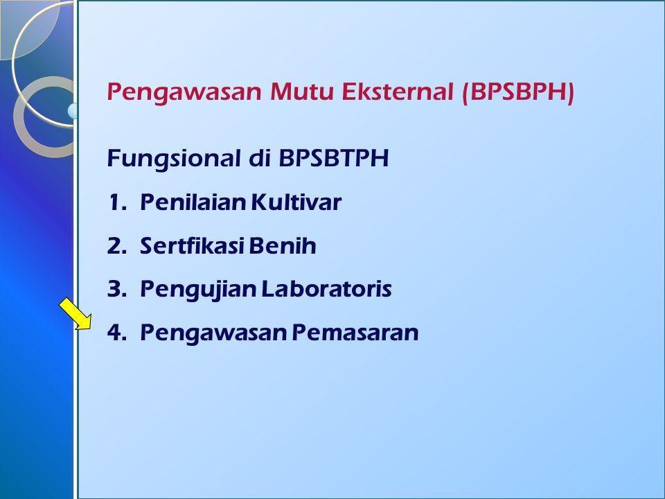 Pengawasan Mutu Eksternal (BPSBPH) Fungsional di BPSBTPH 1.Penilaian Kultivar 2.Sertfikasi Benih 3.Pengujian Laboratoris 4.Pengawasan Pemasaran