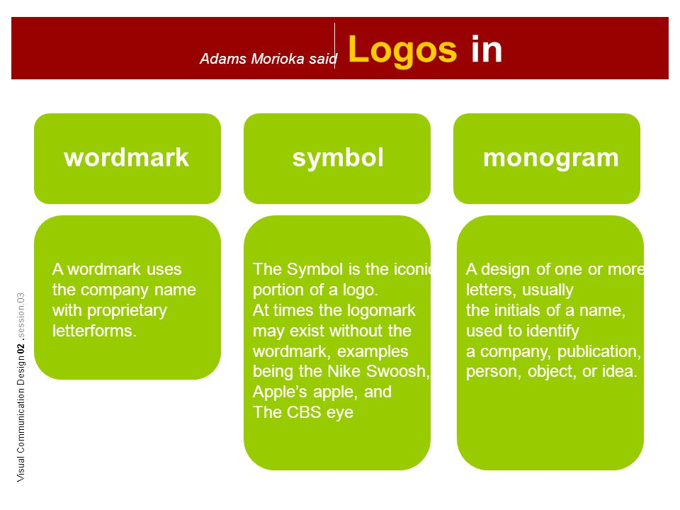 Logos in Character Adams Morioka said wordmarksymbolmonogram A wordmark uses the company name with proprietary letterforms.