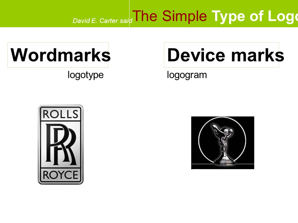 The Simple Type of Logo David E. Carter said WordmarksDevice marks logotypelogogram