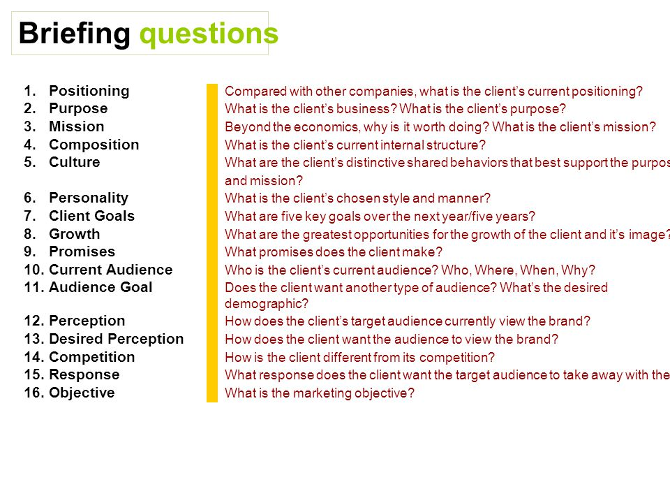 Briefing questions 1.Positioning Compared with other companies, what is the client's current positioning.