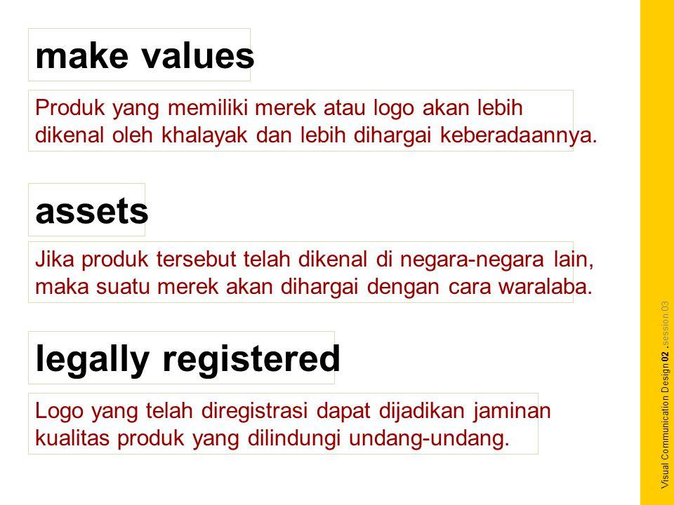 make values Produk yang memiliki merek atau logo akan lebih dikenal oleh khalayak dan lebih dihargai keberadaannya.