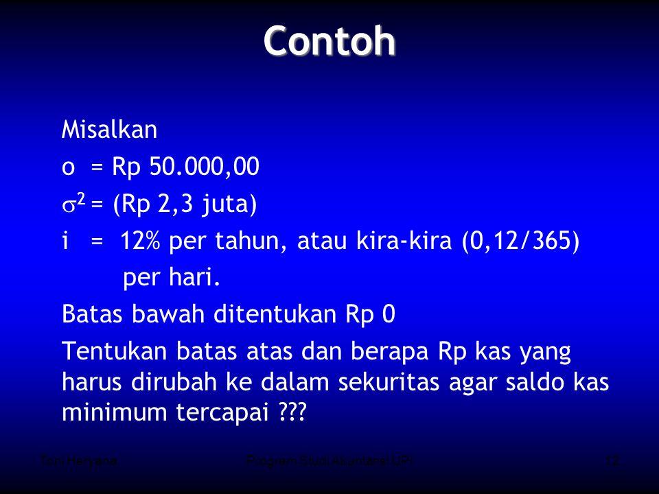Toni HeryanaProgram Studi Akuntansi UPI12 Misalkan o = Rp 50.000,00  2 = (Rp 2,3 juta) i = 12% per tahun, atau kira-kira (0,12/365) per hari.