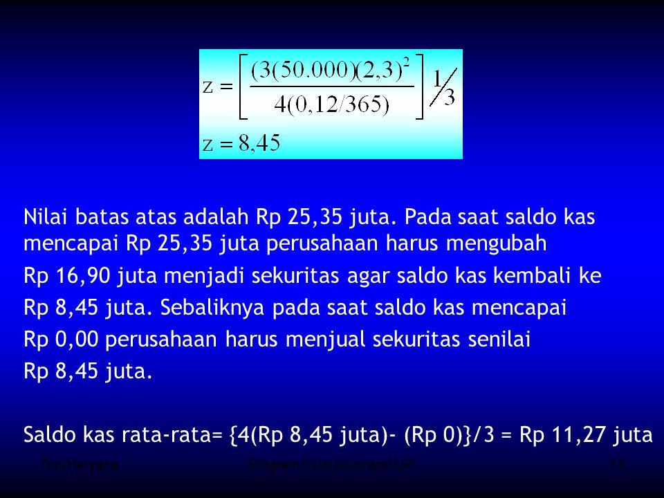 Toni HeryanaProgram Studi Akuntansi UPI13 Nilai batas atas adalah Rp 25,35 juta.