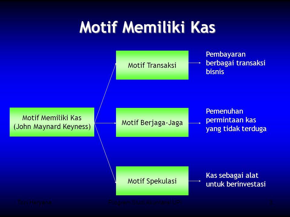 Toni HeryanaProgram Studi Akuntansi UPI3 Motif Memiliki Kas Motif Memiliki Kas (John Maynard Keyness) Motif Transaksi Motif Berjaga-Jaga Motif Spekulasi Pembayaran berbagai transaksi bisnis Pemenuhan permintaan kas yang tidak terduga Kas sebagai alat untuk berinvestasi