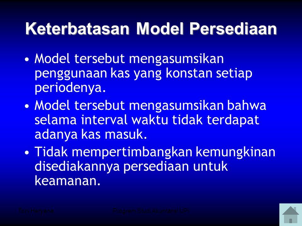 Toni HeryanaProgram Studi Akuntansi UPI9 Model tersebut mengasumsikan penggunaan kas yang konstan setiap periodenya.