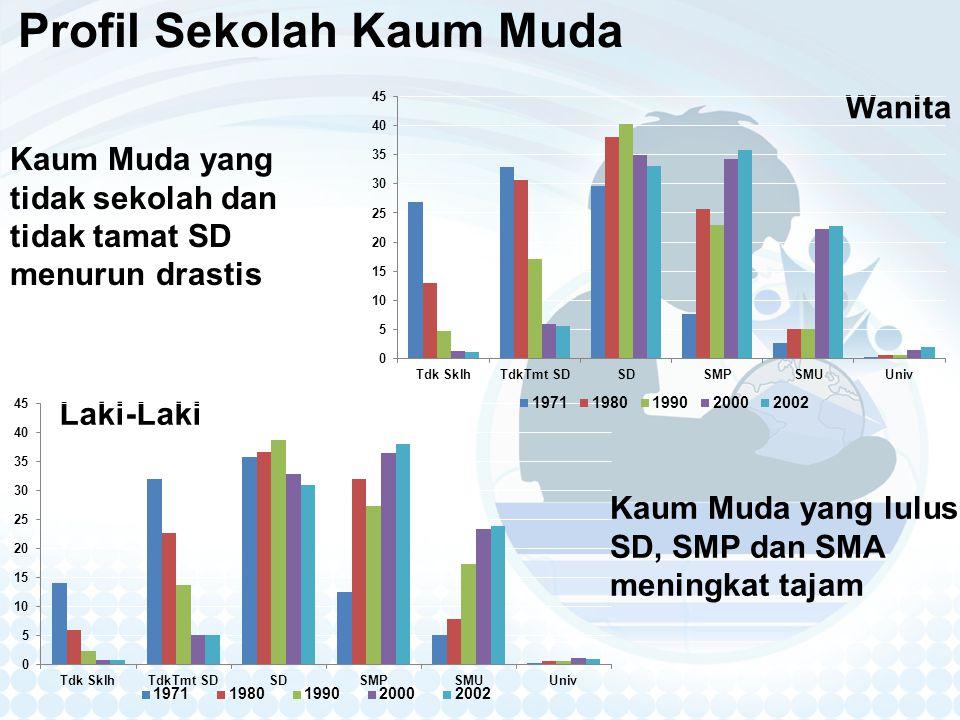Profil Sekolah Kaum Muda Laki-Laki Wanita Kaum Muda yang tidak sekolah dan tidak tamat SD menurun drastis Kaum Muda yang lulus SD, SMP dan SMA meningkat tajam