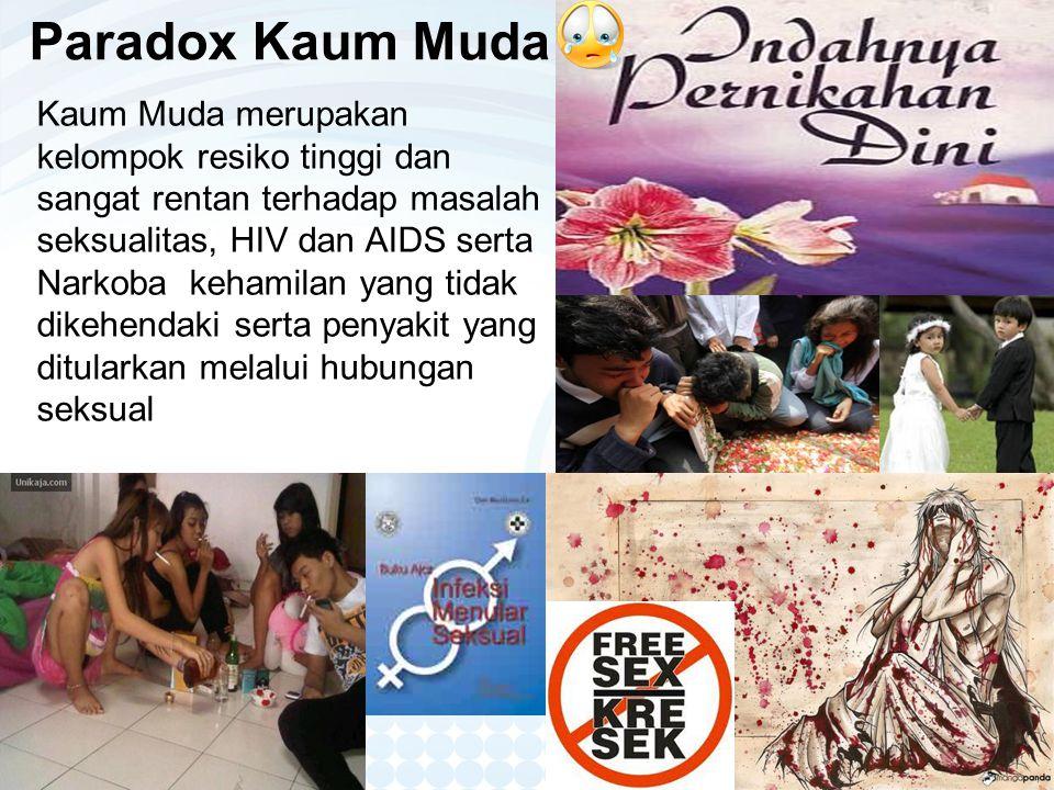 Paradox Kaum Muda Kaum Muda merupakan kelompok resiko tinggi dan sangat rentan terhadap masalah seksualitas, HIV dan AIDS serta Narkoba kehamilan yang tidak dikehendaki serta penyakit yang ditularkan melalui hubungan seksual