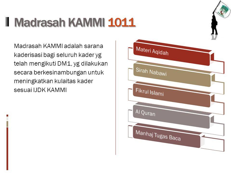 Madrasah KAMMI 1011 Madrasah KAMMI adalah sarana kaderisasi bagi seluruh kader yg telah mengikuti DM1, yg dilakukan secara berkesinambungan untuk meni