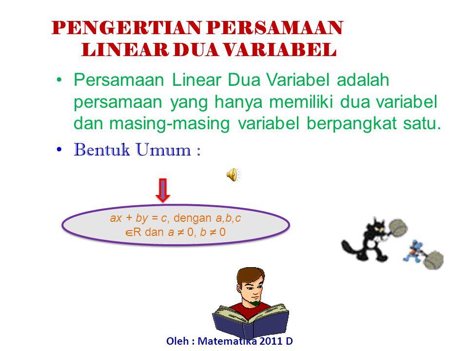 Persamaan linear satu variabel adalah kalimat terbuka yang dihubungkan oleh tanda sama dengan (=) dan hanya memiliki satu variabel berpangkat satu. Be