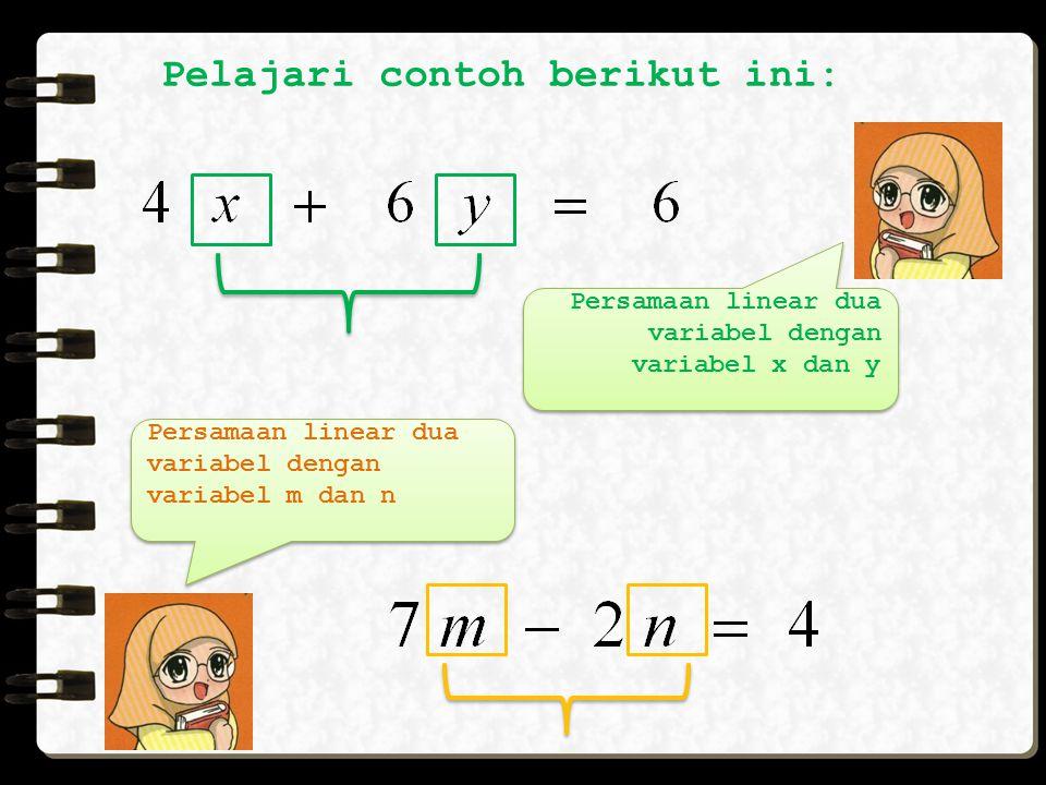 ax + by = c, dengan a,b,c  R dan a  0, b  0 Persamaan Linear Dua Variabel adalah persamaan yang hanya memiliki dua variabel dan masing-masing varia