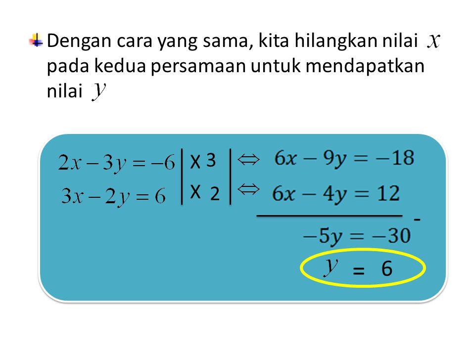 Cara menghilangkan nilai pada kedua persamaan Samakan koefisien pada kedua persamaan dengan cara mengalikannya dengan suatu konstanta X.............