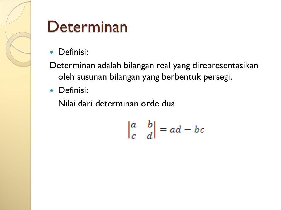 Determinan Definisi: Determinan adalah bilangan real yang direpresentasikan oleh susunan bilangan yang berbentuk persegi. Definisi: Nilai dari determi