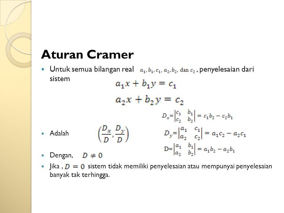 Aturan Cramer Untuk semua bilangan real, penyelesaian dari sistem Adalah Dengan, Jika, sistem tidak memiliki penyelesaian atau mempunyai penyelesaian