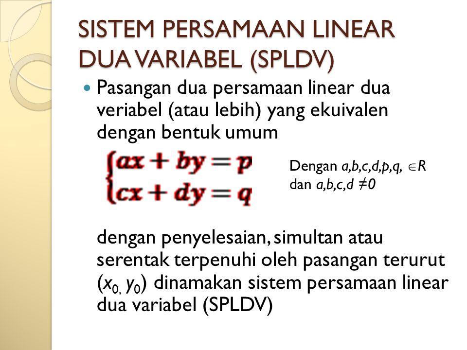 SISTEM PERSAMAAN LINEAR DUA VARIABEL (SPLDV) Pasangan dua persamaan linear dua veriabel (atau lebih) yang ekuivalen dengan bentuk umum dengan penyeles
