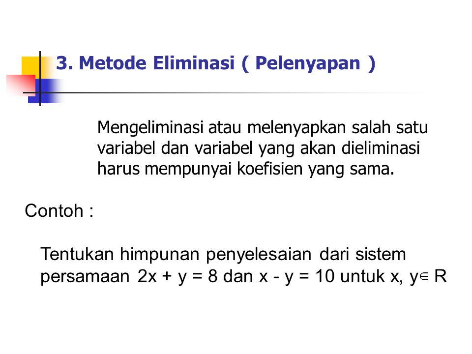 3. Metode Eliminasi ( Pelenyapan ) Mengeliminasi atau melenyapkan salah satu variabel dan variabel yang akan dieliminasi harus mempunyai koefisien yan