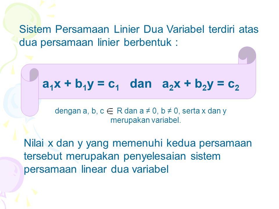 Nilai x dan y yang memenuhi kedua persamaan tersebut merupakan penyelesaian sistem persamaan linear dua variabel a 1 x + b 1 y = c 1 dan a 2 x + b 2 y