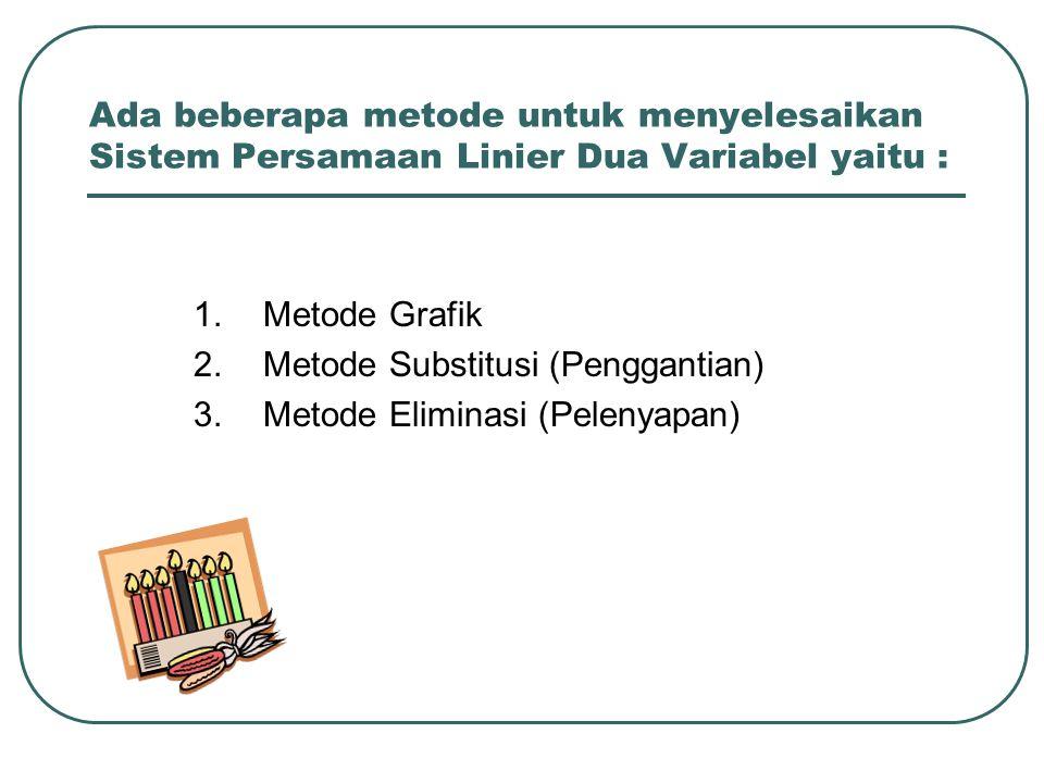 Ada beberapa metode untuk menyelesaikan Sistem Persamaan Linier Dua Variabel yaitu : 1.Metode Grafik 2. Metode Substitusi (Penggantian) 3.Metode Elimi