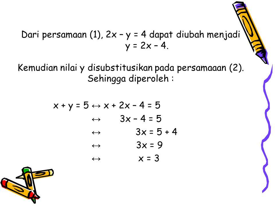Dari persamaan (1), 2x – y = 4 dapat diubah menjadi y = 2x – 4. Kemudian nilai y disubstitusikan pada persamaaan (2). Sehingga diperoleh : x + y = 5 ↔