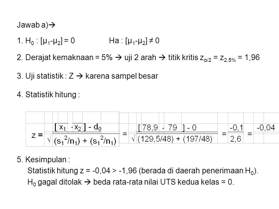 Jawab a)  1. H 0 : [μ 1 -μ 2 ] = 0 Ha : [μ 1 -μ 2 ] ≠ 0 2. Derajat kemaknaan = 5%  uji 2 arah  titik kritis z α/2 = z 2,5% = 1,96 3. Uji statistik