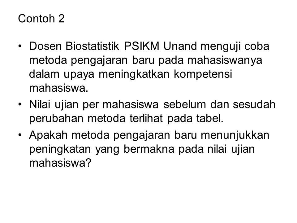 Contoh 2 Dosen Biostatistik PSIKM Unand menguji coba metoda pengajaran baru pada mahasiswanya dalam upaya meningkatkan kompetensi mahasiswa. Nilai uji