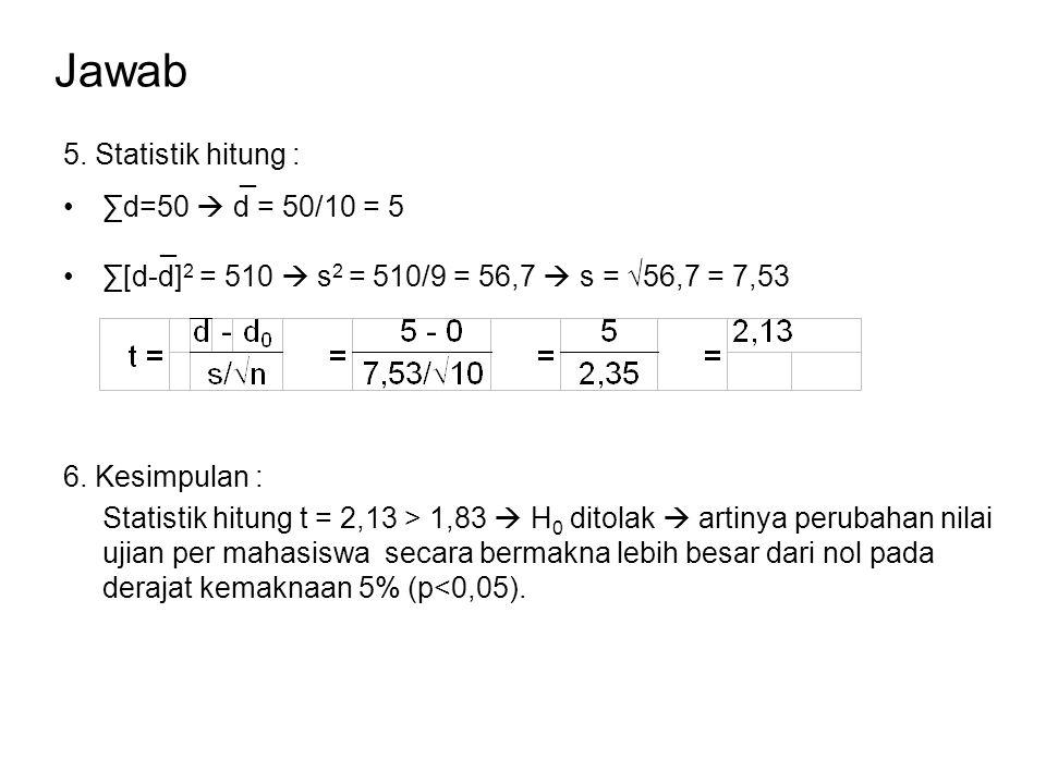 Jawab _ ∑d=50  d = 50/10 = 5 _ ∑[d-d] 2 = 510  s 2 = 510/9 = 56,7  s = √56,7 = 7,53 5. Statistik hitung : 6. Kesimpulan : Statistik hitung t = 2,13