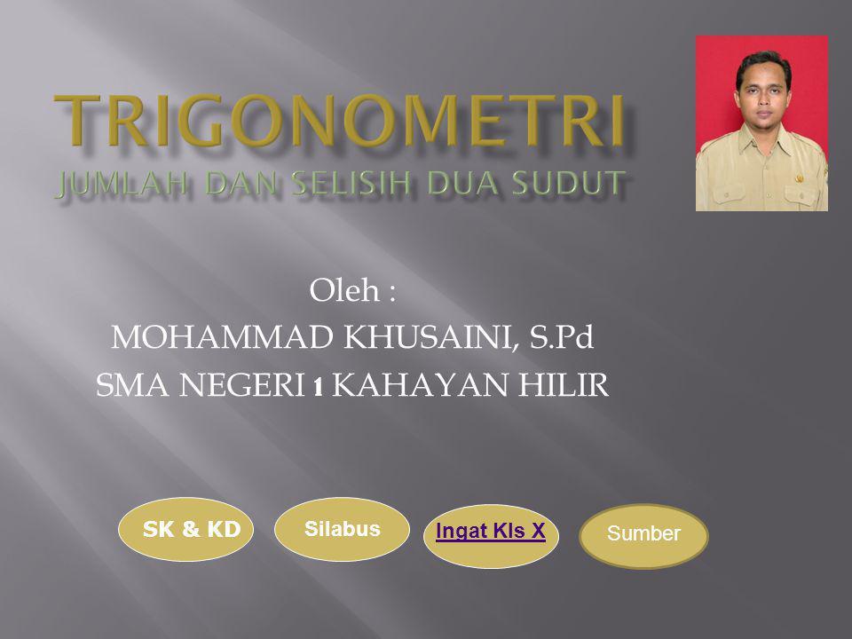 Oleh : MOHAMMAD KHUSAINI, S.Pd SMA NEGERI 1 KAHAYAN HILIR SK & KD Silabus Ingat Kls X Sumber
