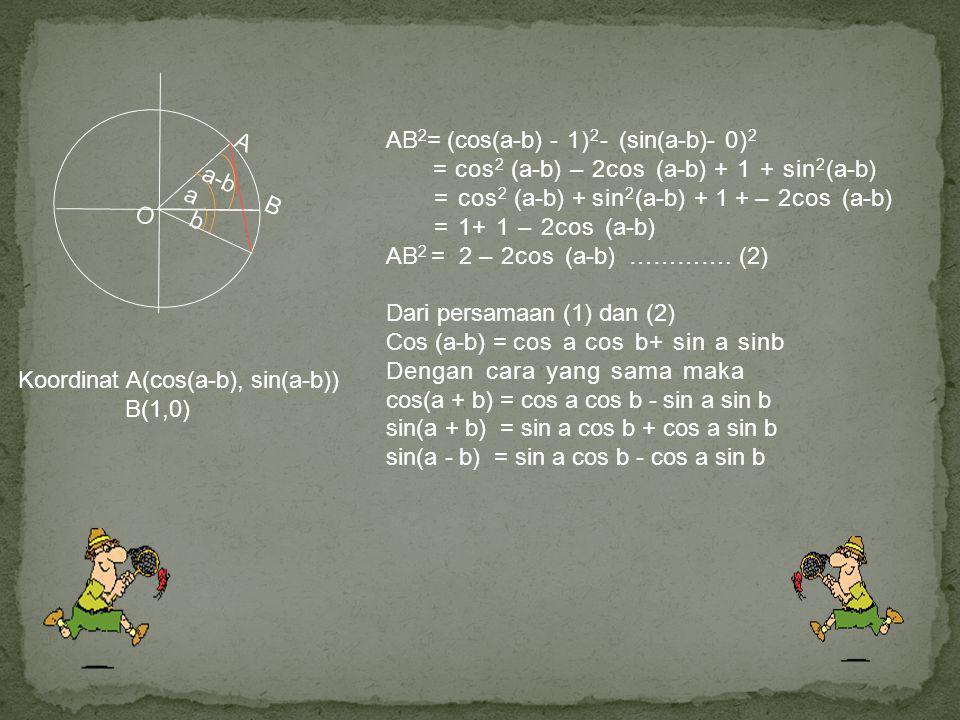 O a b a-b B A Koordinat A(cos(a-b), sin(a-b)) B(1,0) AB 2 = (cos(a-b) - 1) 2 - (sin(a-b)- 0) 2 = cos 2 (a-b) – 2cos (a-b) + 1 + sin 2 (a-b) = cos 2 (a