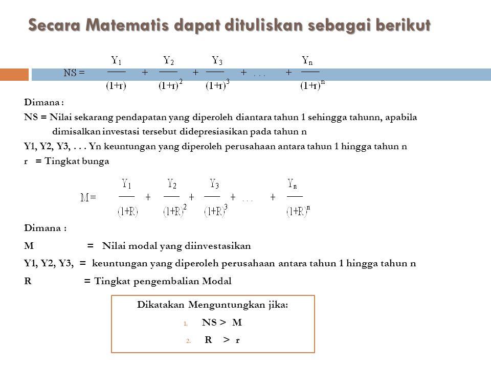 Secara Matematis dapat dituliskan sebagai berikut Dimana : NS = Nilai sekarang pendapatan yang diperoleh diantara tahun 1 sehingga tahunn, apabila dimisalkan investasi tersebut didepresiasikan pada tahun n Y1, Y2, Y3,...