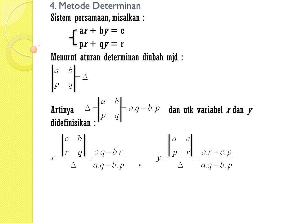 4. Metode Determinan Sistem persamaan, misalkan : ax + by = c px + qy = r Menurut aturan determinan diubah mjd : Artinyadan utk variabel x dan y didef