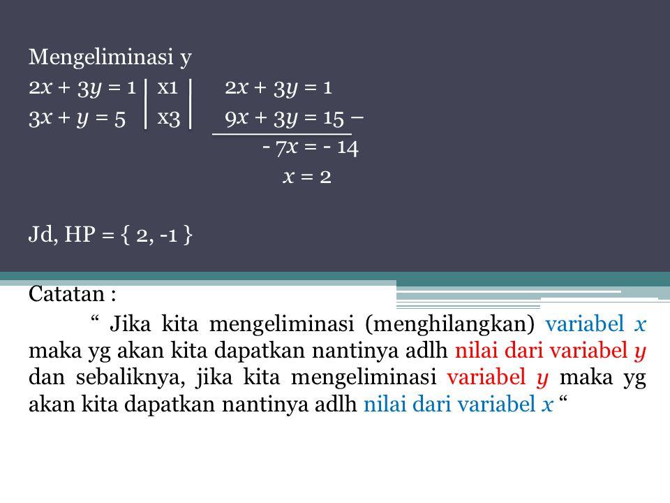 Mengeliminasi y 2x + 3y = 1x12x + 3y = 1 3x + y = 5x39x + 3y = 15 – - 7x = - 14 x = 2 Jd, HP = { 2, -1 } Catatan : Jika kita mengeliminasi (menghilangkan) variabel x maka yg akan kita dapatkan nantinya adlh nilai dari variabel y dan sebaliknya, jika kita mengeliminasi variabel y maka yg akan kita dapatkan nantinya adlh nilai dari variabel x