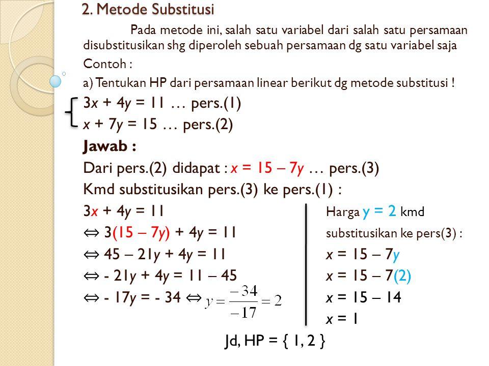 2. Metode Substitusi Pada metode ini, salah satu variabel dari salah satu persamaan disubstitusikan shg diperoleh sebuah persamaan dg satu variabel sa